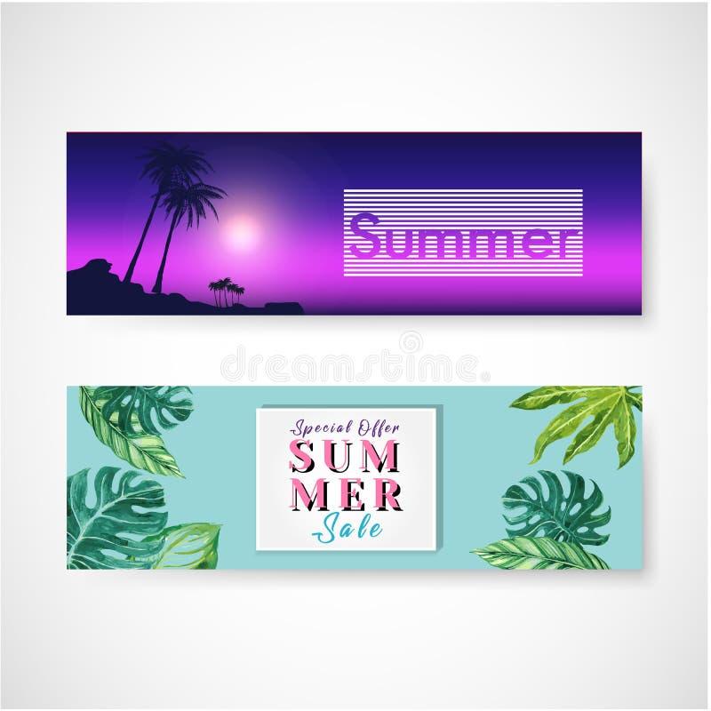 De reeks van drie horizontale banners op een de zomerthema Vector illustratie royalty-vrije illustratie