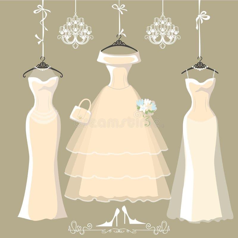 De reeks van drie lange bruids kleding hangt op linten stock illustratie