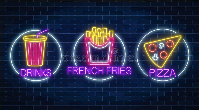 De reeks van drie neon gloeiende tekens van frieten, het stuk van pizza en de soda drinken in cirkelkaders vector illustratie