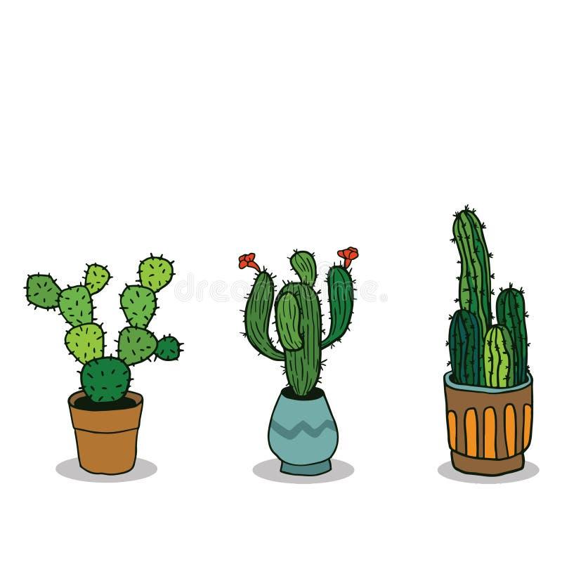 De reeks van Drie overhandigt Getrokken Cactus in Potten vector illustratie