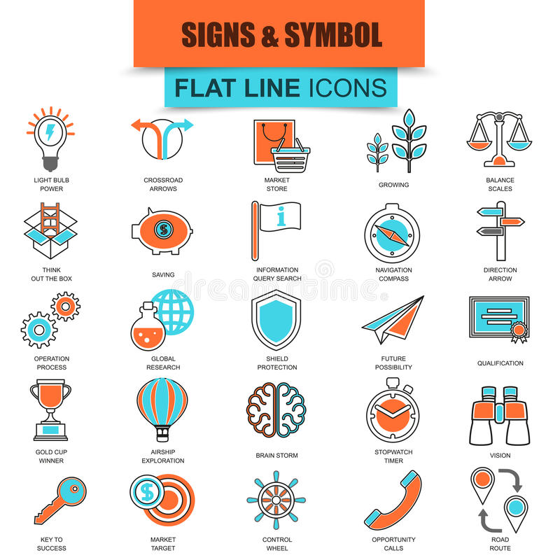 De reeks van dunne diverse zaken van lijnpictogrammen zingt en symbolen stock illustratie