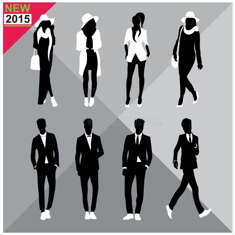 De reeks van Editablesilhouetten mannen en vrouwen vector illustratie