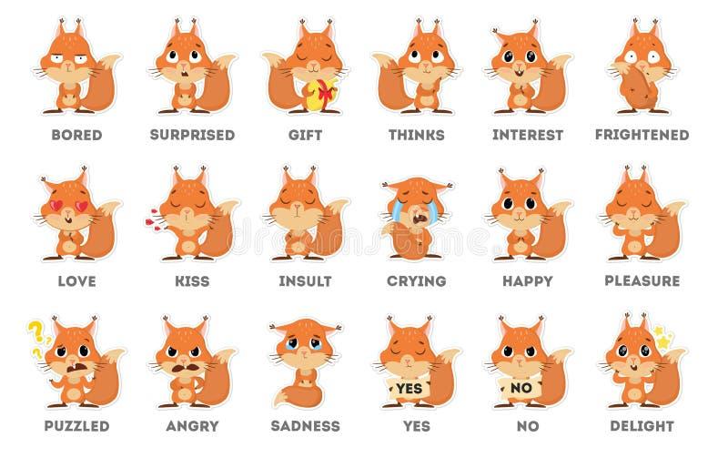 De reeks van eekhoornemoji royalty-vrije illustratie