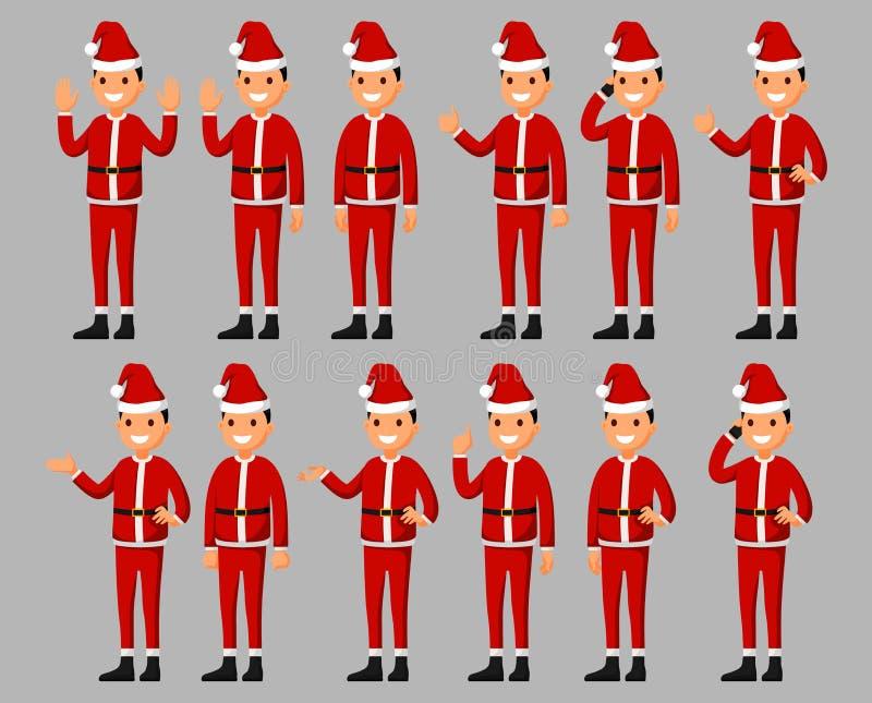 De reeks van een het beeldverhaalkarakter van de Kerstman in verschillend stelt Vectorillustratie in een vlakke stijl stock illustratie