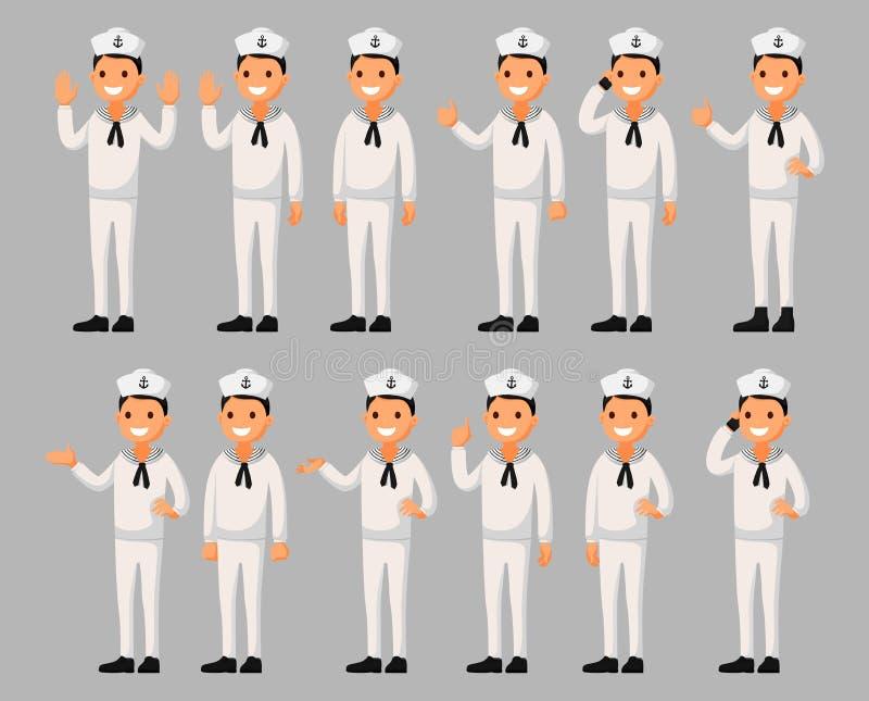 De reeks van een het beeldverhaalkarakter van de zeemansmens in verschillend stelt Vectorillustratie in een vlakke stijl vector illustratie