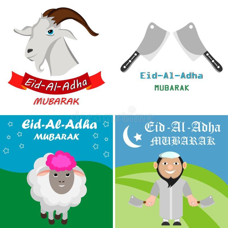 De reeks van Eid al-Adha Mubarak vector illustratie