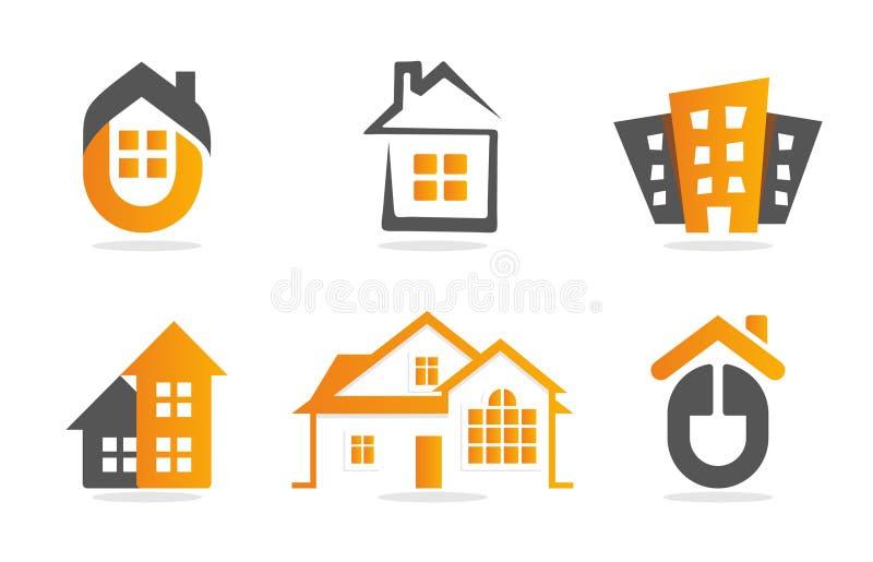 De reeks van de embleemwoningbouw De inzameling van het onroerende goederenpictogram Huissinaasappel logotype royalty-vrije illustratie