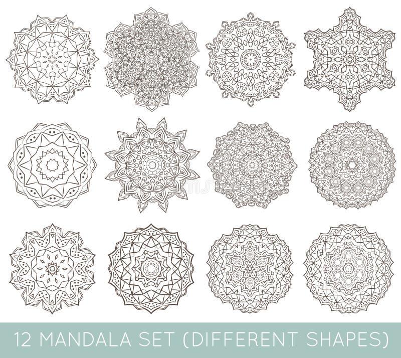 De reeks van Etnische Fractal Mandala Vector Meditation Tattoo ziet lik eruit vector illustratie