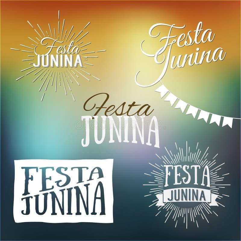 De reeks van Festajunina emblemen, emblemen en etiketten - traditionele Braz stock illustratie