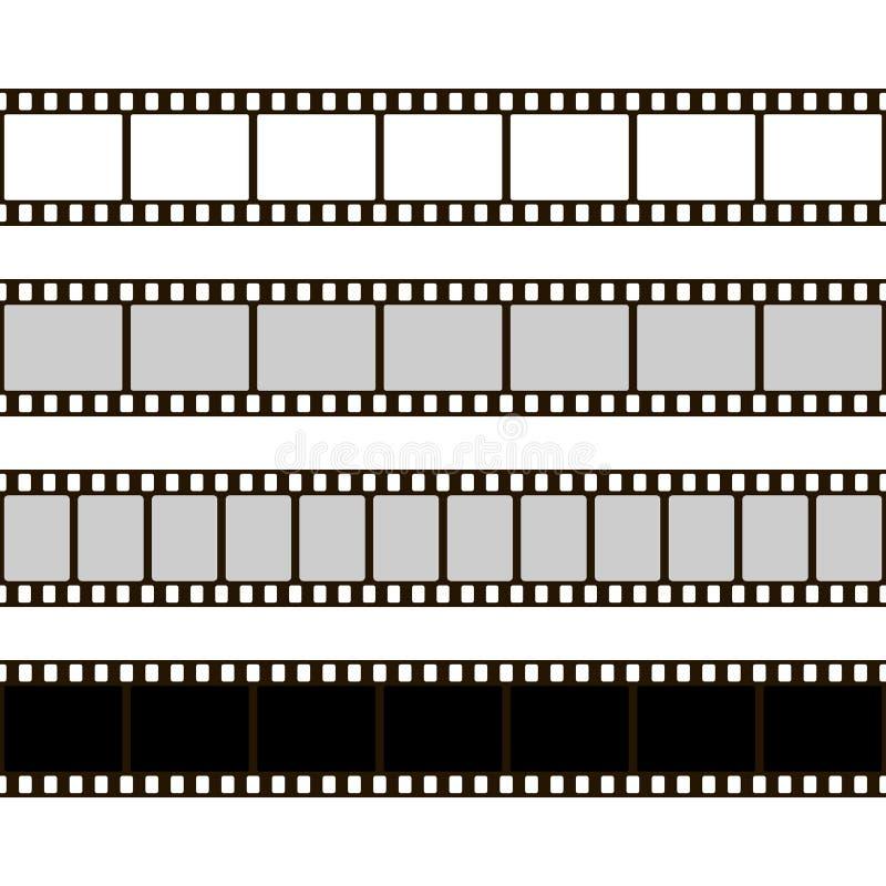 De Reeks van de filmstrook Inzameling van film voor de camera Backlight met blauwe stralen Vector illustratie Malplaatje van nega vector illustratie