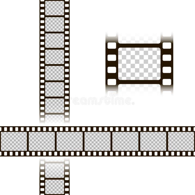 De Reeks van de filmstrook Inzameling van film voor de camera Backlight met blauwe stralen Vectorillustratiemalplaatje van negati vector illustratie