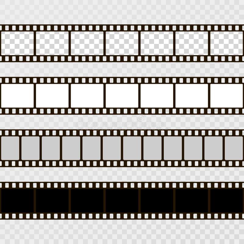 De Reeks van de filmstrook Inzameling van film voor de camera Backlight met blauwe stralen Vectormalplaatje op transparante achte vector illustratie