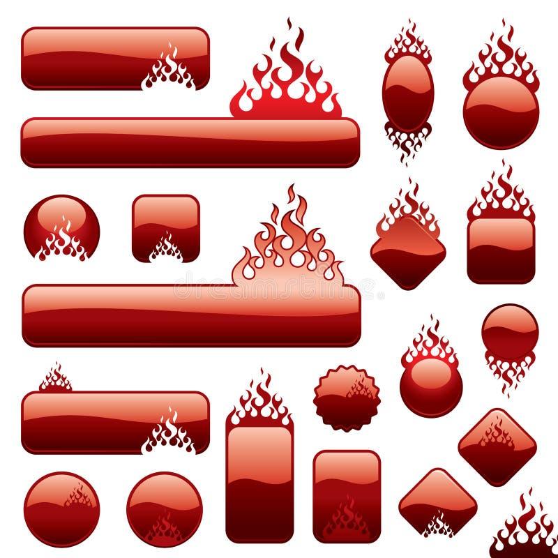 De reeks van Firebuttons vector illustratie