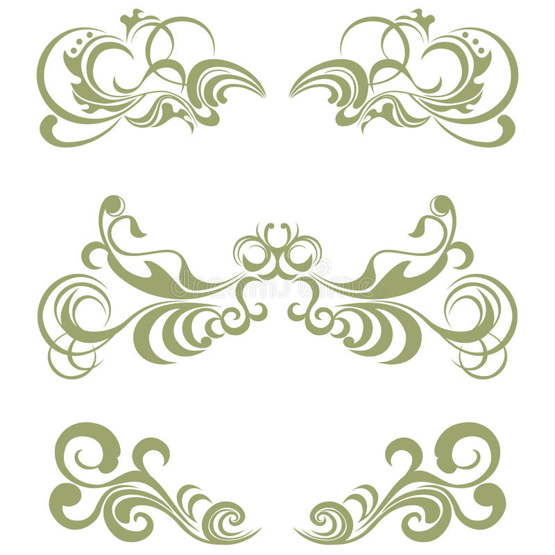 De reeks van Floralãelements stock illustratie