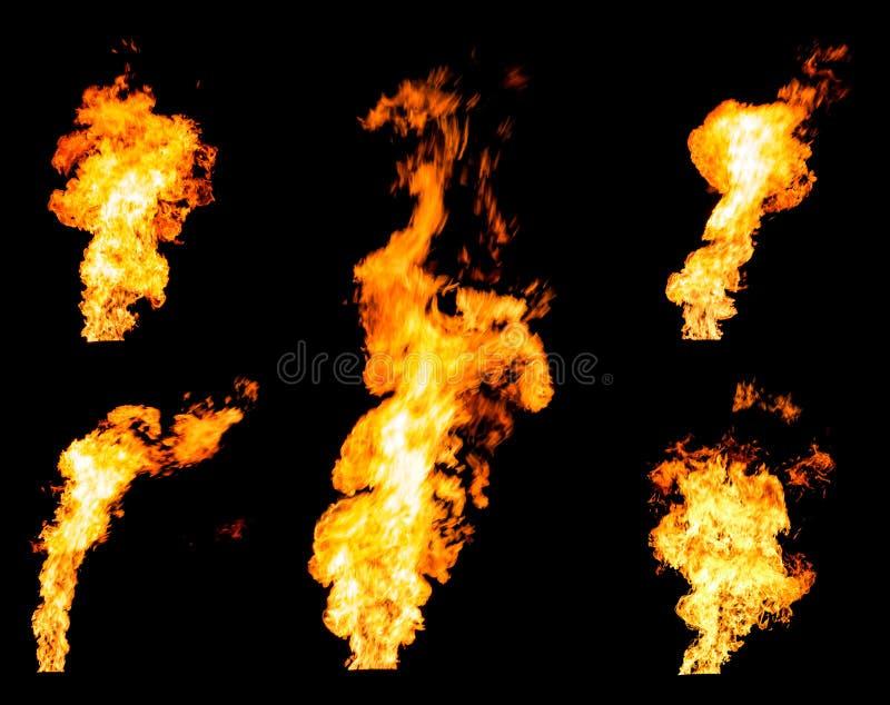 De reeks van gas flakkert het opvlammen brandspurts en gloeiende vlammen royalty-vrije stock afbeelding