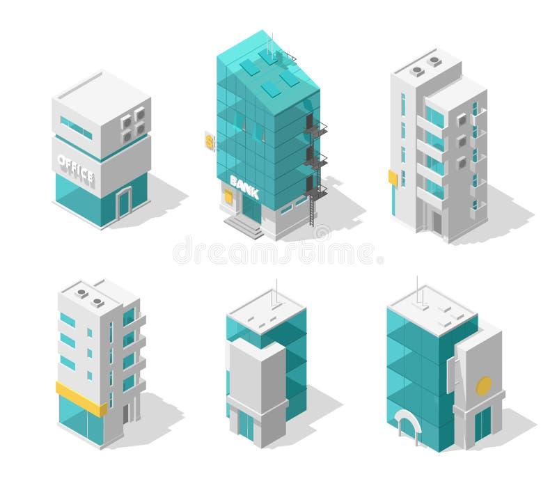 De reeks van de gebouwenstad Isometrische hoogste mening Afzonderlijke vectorrijtjeshuizen De koffie, de bureaus en de bank van d vector illustratie