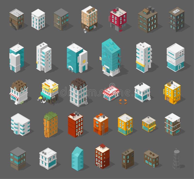 De reeks van de gebouwenstad Isometrische hoogste mening Afzonderlijke vectorrijtjeshuizen Koffie, bureaus en bank van de winkels royalty-vrije illustratie