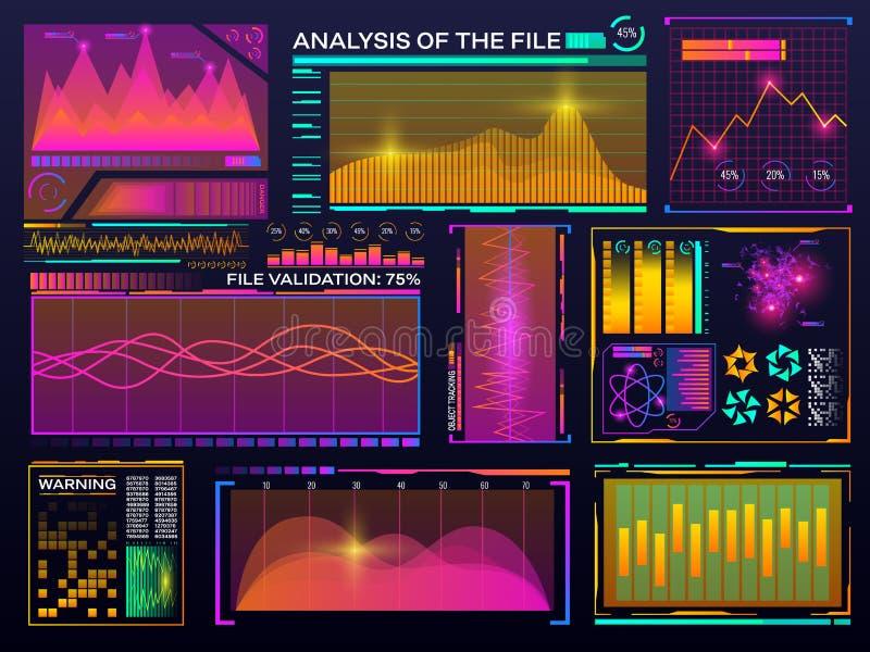 De reeks van de gegevensvisualisatie HUD-kleureninterface Modern infographic malplaatje Diagram met statistiekengrafieken futuris stock illustratie