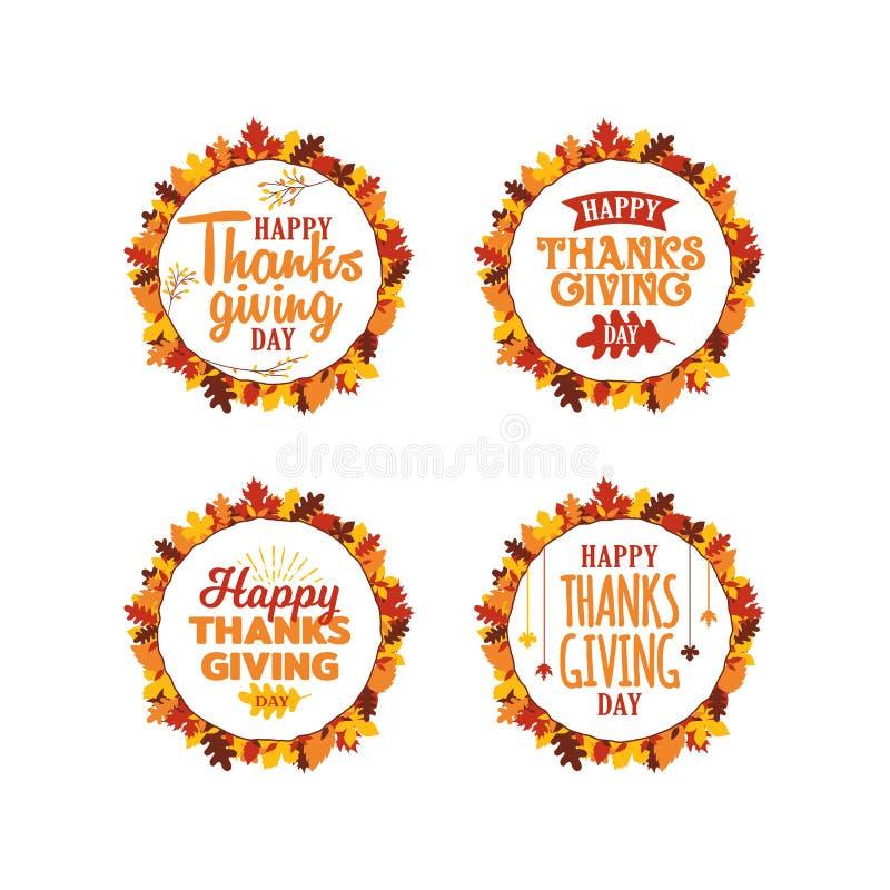 De reeks van de gelukkige teksten van de dankzeggingstypografie met de herfstdaling verlaat kaderornament Embleem, pictogram, ban vector illustratie