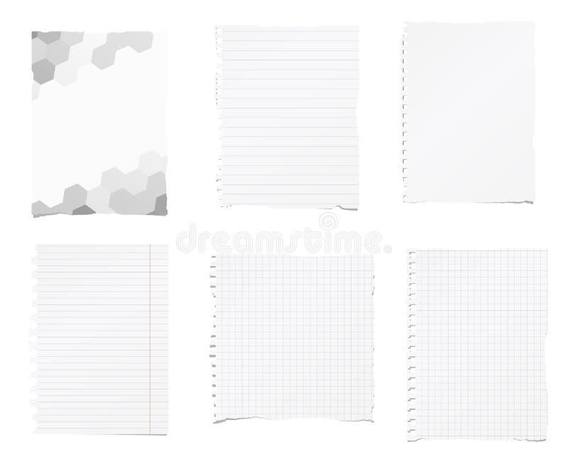 De reeks van gescheurde wit, beslist, het document van het wiskundenotitieboekje is geplakt op achtergrond stock illustratie