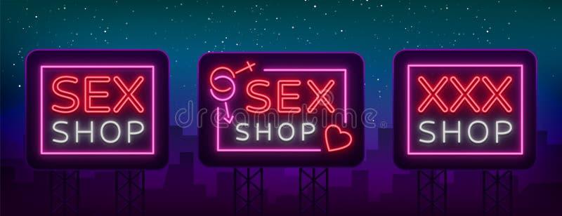De reeks van de geslachtswinkel emblemen in neonstijl Inzameling van emblemen Neoneffect, kruidenierswinkelopslag, vertrouwelijke vector illustratie