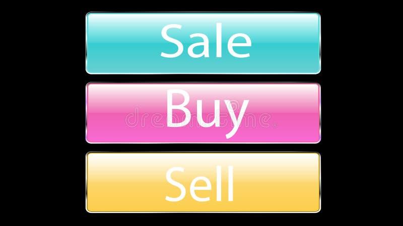 De reeks van glas drie de transparante mooie vectorknopen voor het drukken van de verkoop, kopen, verkoopt blauwe, roze, gele kno royalty-vrije illustratie