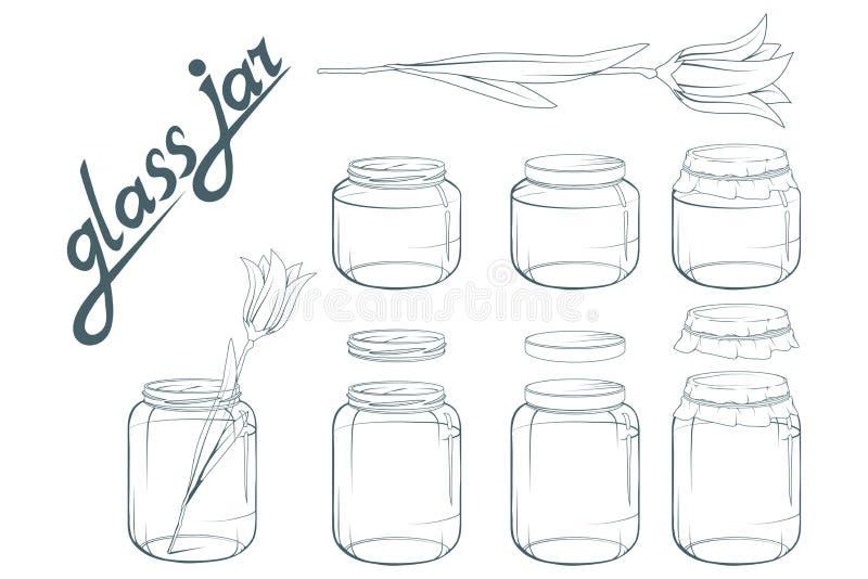 De Reeks van de glaskruik Getrokken kruikhand Het van letters voorzien van glaskruik royalty-vrije illustratie