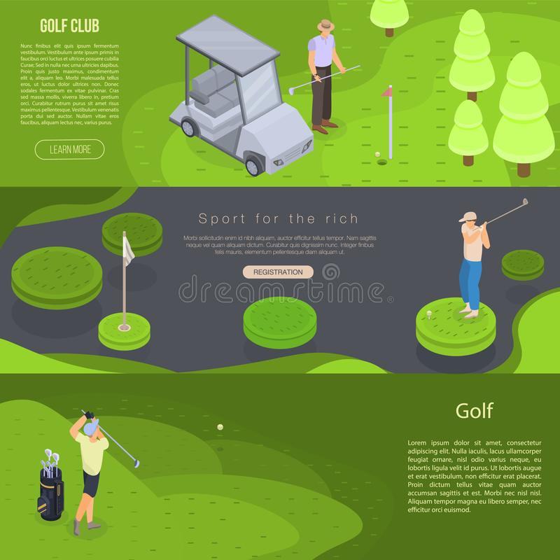 De reeks van de golfbanner, isometrische stijl stock illustratie