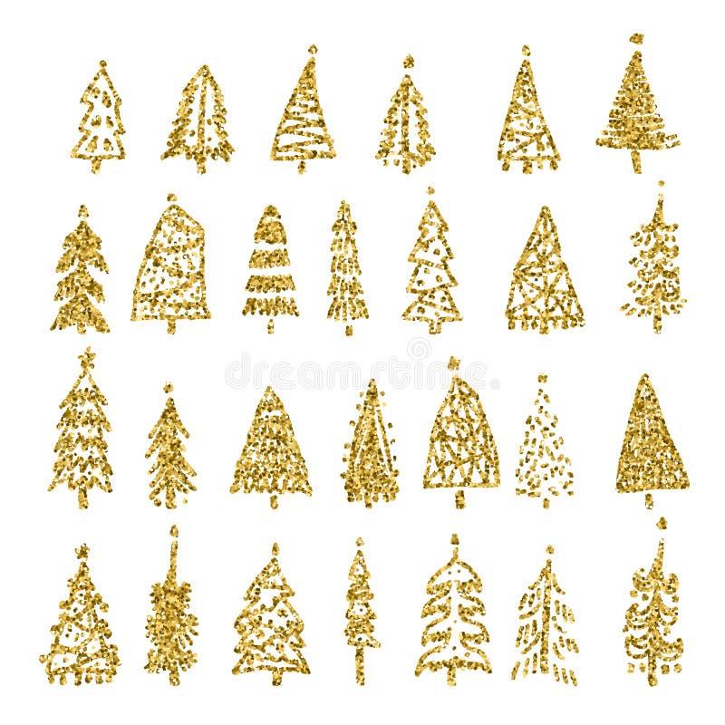 De reeks van goud schittert Kerstboom op witte achtergrond wordt geïsoleerd die Vector illustratie royalty-vrije illustratie