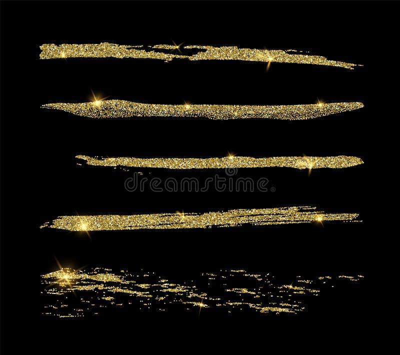 De reeks van gouden schittert lijnborstels Vector element royalty-vrije illustratie