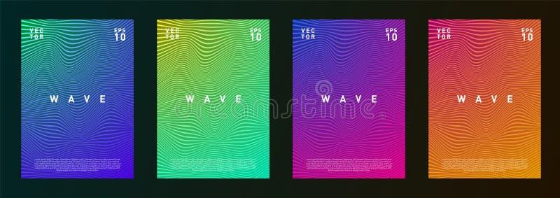 De reeks van van de de gradiënttextuur van golflijnen vloeibaar ontwerp als achtergrond voor dagboek, vlieger, affiche, brochure, royalty-vrije illustratie