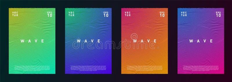 De reeks van van de de gradiënttextuur van golflijnen vloeibaar ontwerp als achtergrond voor reclame, dagboek, vlieger, affiche,  stock illustratie