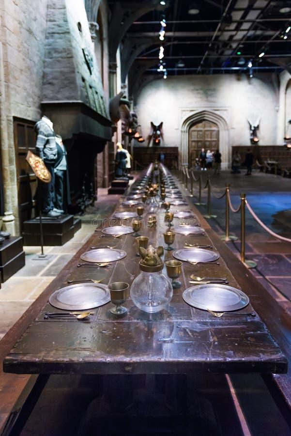 De reeks van de Grote Zaal als Hogwarts, LEAVESDEN, het UK stock afbeelding