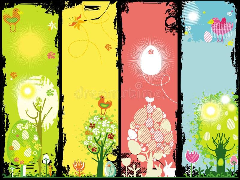 De reeks van Grunge banners van Pasen royalty-vrije illustratie