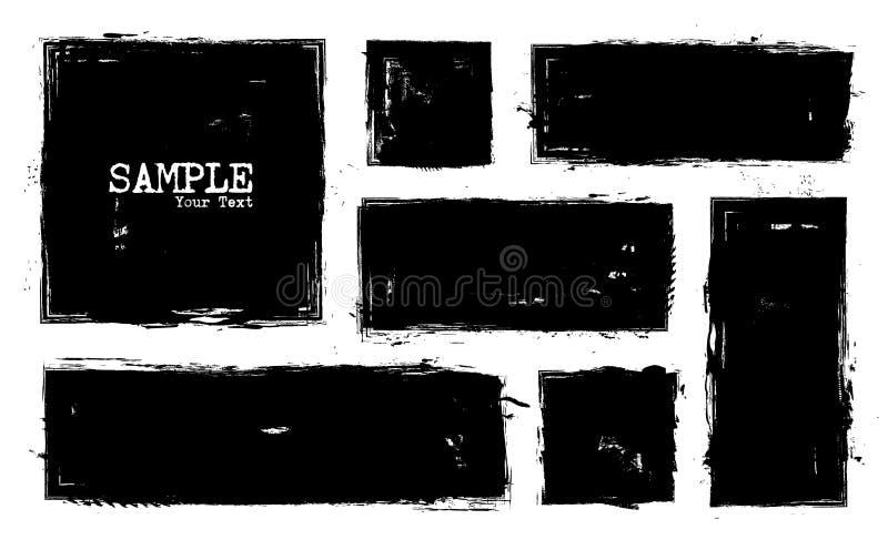 De reeks van de Grungestijl vierkant en rechthoekvormen Vector stock illustratie