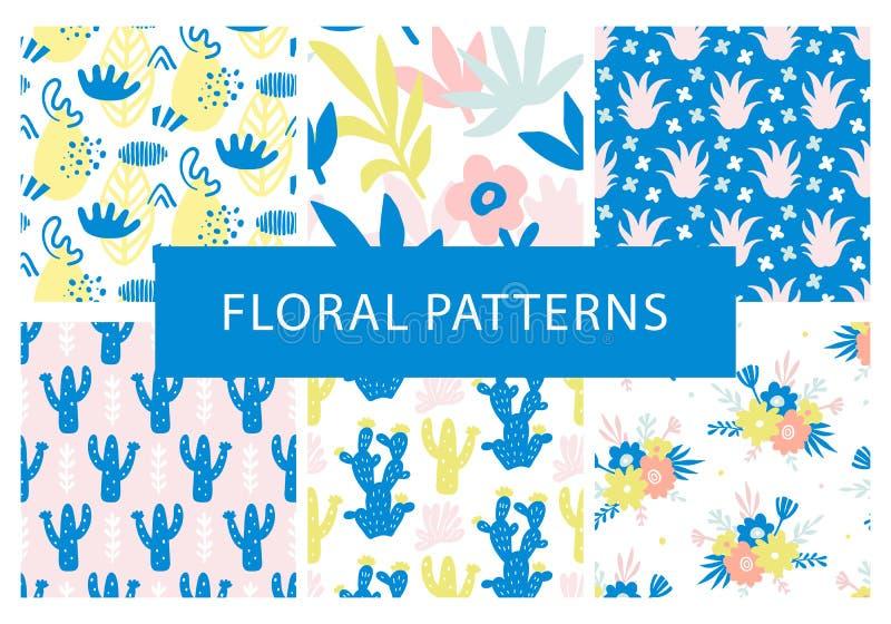 De reeks van hand getrokken kleurrijke bloemen naadloos herhaalt patronen royalty-vrije illustratie
