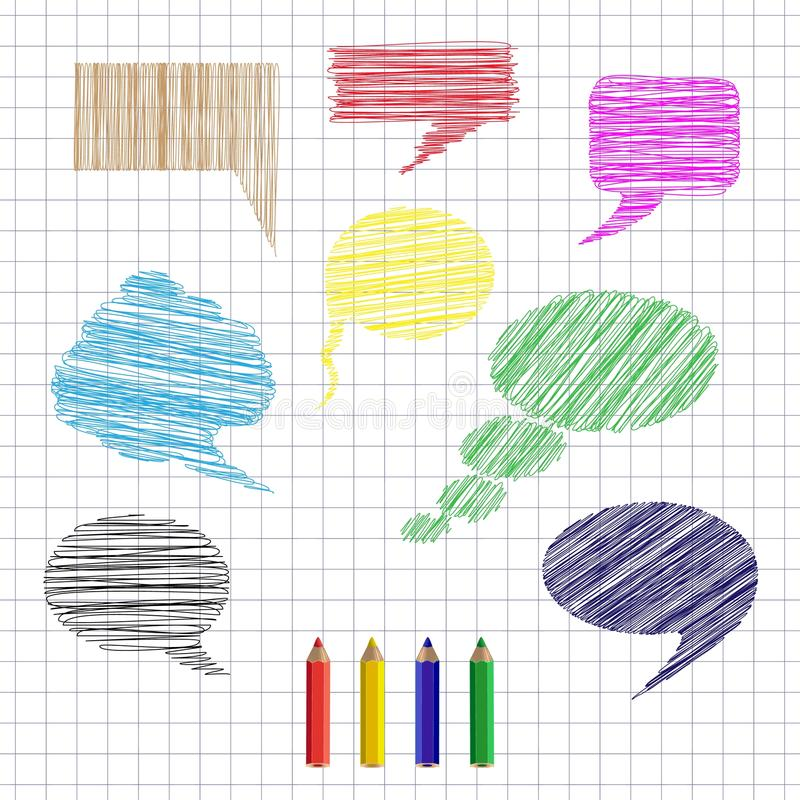 De reeks van hand getrokken kleurrijke toespraak en gedachte borrelt op gevoerd document op kooiachtergrond vector illustratie