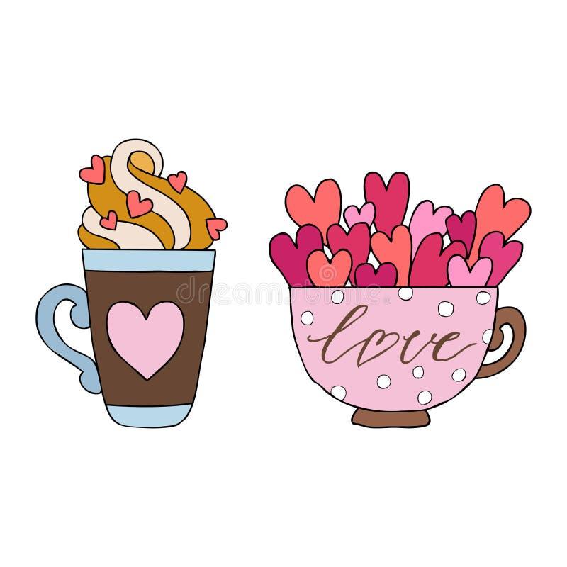 De reeks van hand getrokken vectorillustratie van een mok, de kop, het glas met harten en de inschrijvingen houden van u, gelukki stock illustratie