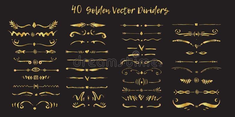 De reeks van handdrawn gouden verdeelt grenzen in inkt Wervelingen en verdelers voor ontwerp Vector Zwarte modieuze grens op zwar vector illustratie