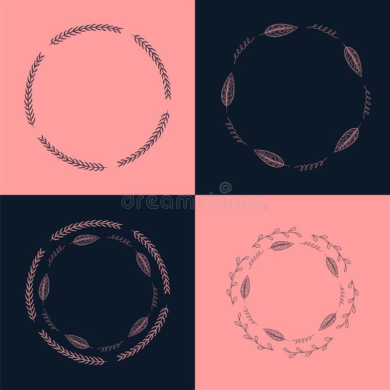 De reeks van Handdrawn inkt schilderde bloemenkaders, kronen en laurels De uitstekende vector clipart plaatste voor huwelijk, vak stock illustratie