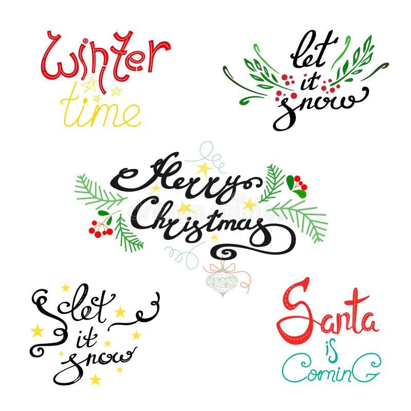 De reeks van heldere met de hand geschreven teksten voor de de wintervakantie, gelukkige Kerstmis, de wintertijd, Kerstman komt H stock illustratie
