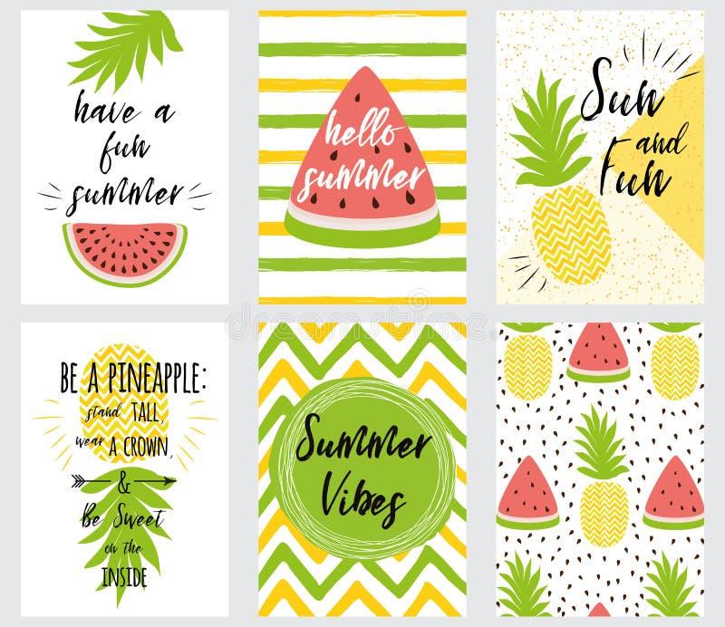 De reeks van de heldere zomer van de de zomerbanner citeert vers fruit vectorillustratie vector illustratie