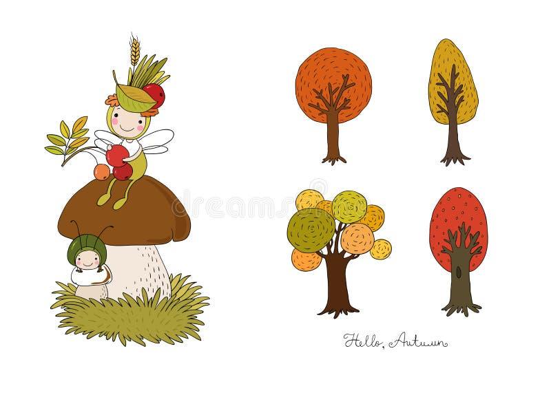 De reeks van de herfst Vector elementen voor ontwerp Een bosfee zit op een paddestoel - Het vector stock illustratie