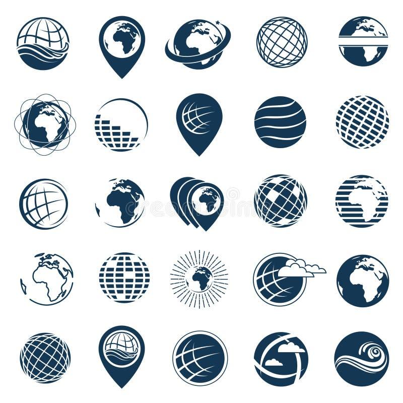 De reeks van het aardeembleem vector illustratie