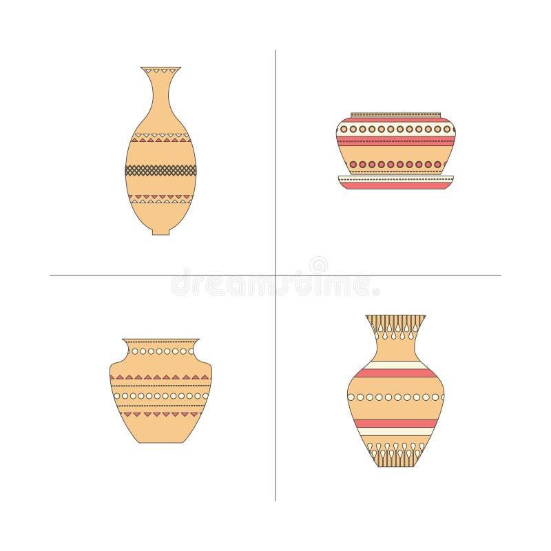 De reeks van het aardewerkpictogram royalty-vrije illustratie