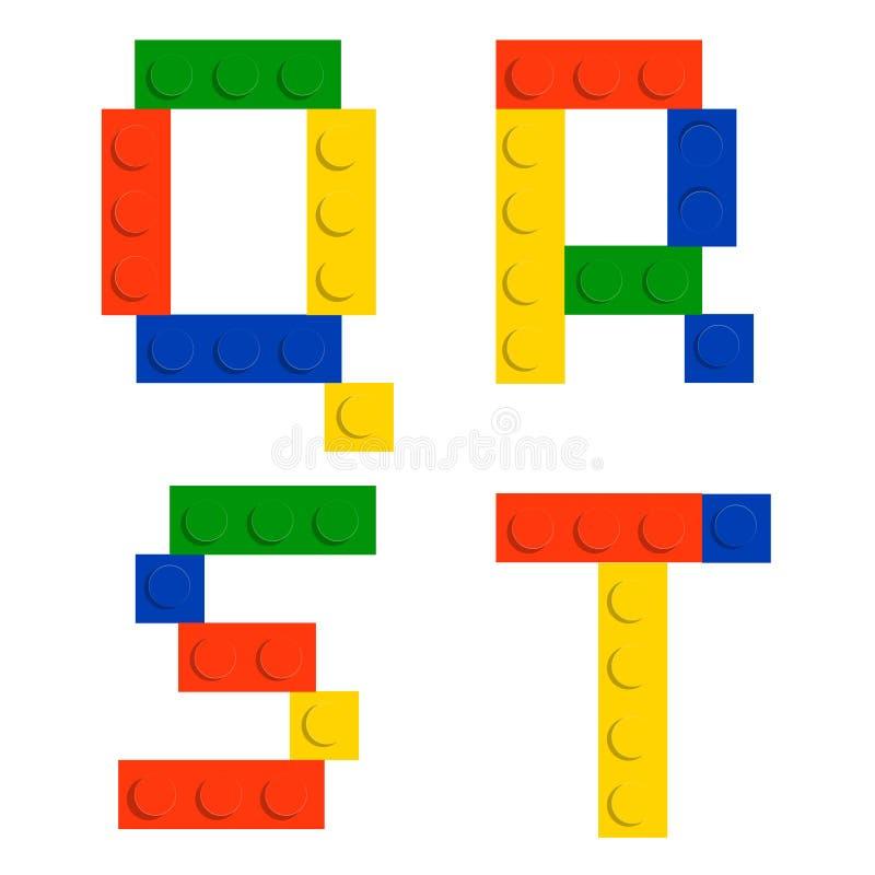 De reeks van het alfabet die van stuk speelgoed de blokken van de bouwbaksteen wordt gemaakt stock illustratie