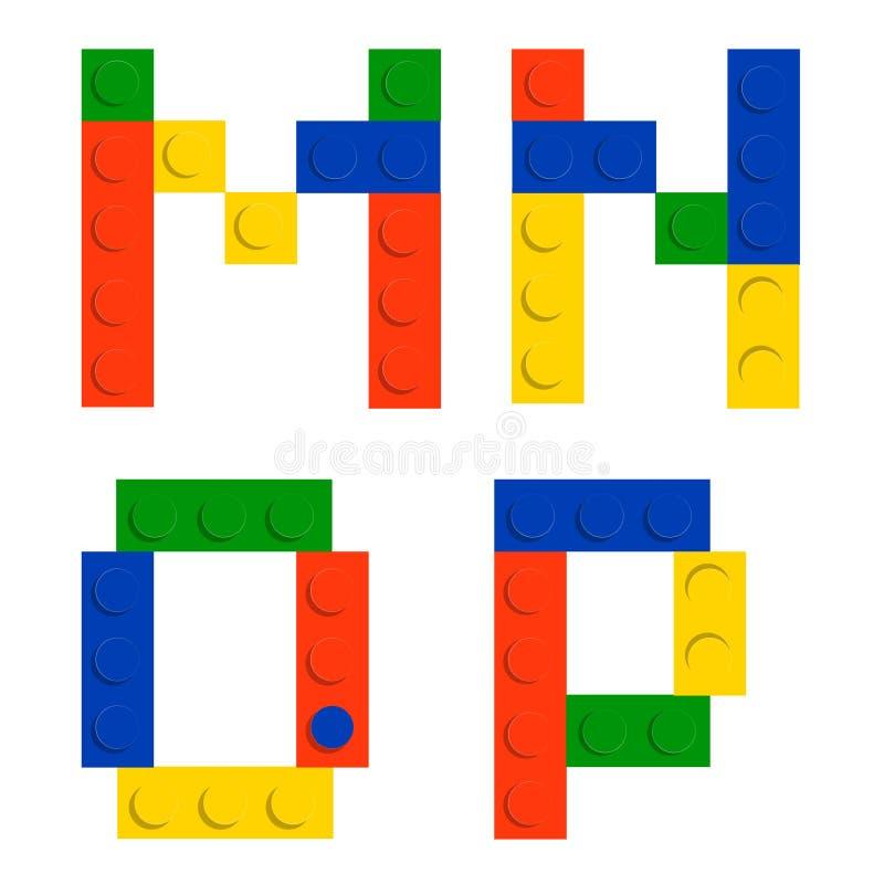 De reeks van het alfabet die van stuk speelgoed de blokken van de bouwbaksteen wordt gemaakt royalty-vrije illustratie