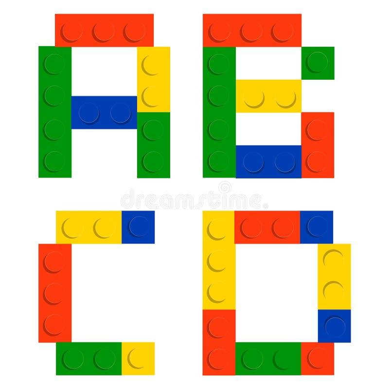 De reeks van het alfabet die van stuk speelgoed de blokken van de bouwbaksteen wordt gemaakt vector illustratie