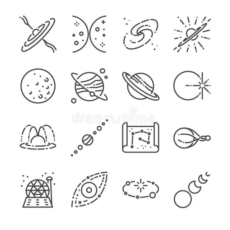 De reeks van het astronomiepictogram Omvatte de pictogrammen zoals sterren, ruimte, heelal, melkwegen, planeet, zonnestelsel en m vector illustratie