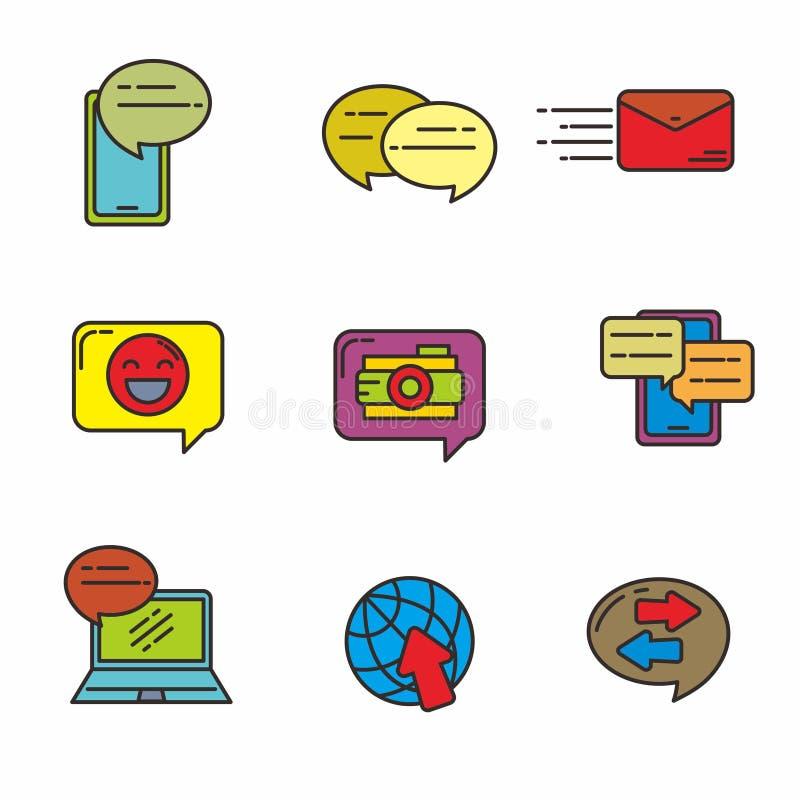 De reeks van het babbelen en mededeling bracht vectorillustratie met elkaar in verband Communicatie pictogram royalty-vrije illustratie